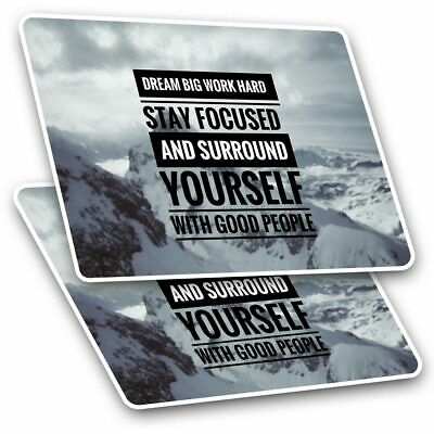2 X Rectangle Stickers 10 Cm - Dream Big Work Hard Student Quote #16967 • 2.49£