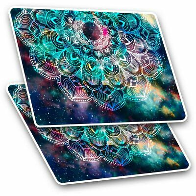 2 X Rectangle Stickers 10 Cm - Blue Teal Abstract Mandala #2711 • 2.49£