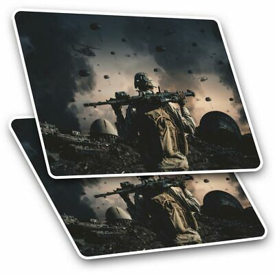 2 X Rectangle Stickers 10 Cm - Military War Gamer Gaming Soldier #21881 • 2.49£