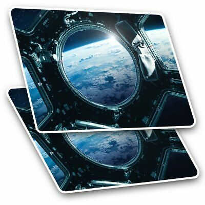 2 X Rectangle Stickers 10 Cm - Space Station Earth View Aliens #24542 • 2.49£