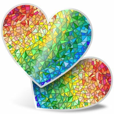 2 X Heart Stickers 7.5 Cm - Rainbow Stained Glass Art  #3023 • 2.49£