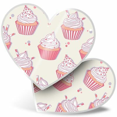 2 X Heart Stickers 7.5 Cm - Cute Pink Cupcakes Cake Buns  #8464 • 2.49£