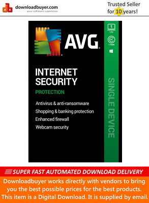 AVG Internet Security 2020 - 1 PC - 1 Year [Download] • 8.99£