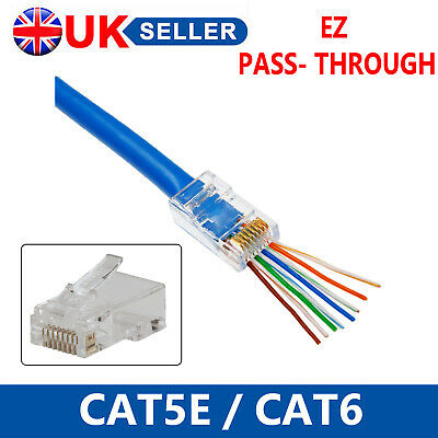 EZ RJ45 UTP GOLD PLATED PASSTHROUGH CAT6 CAT5e NETWORK CABLE CONNECTOR WHOLESALE • 3.94£