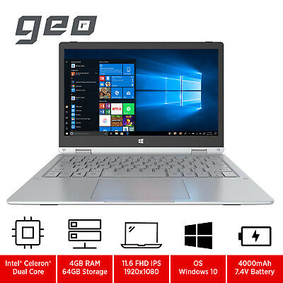 GeoFlex 11.6  2-in-1 Convertible Laptop With Touchscreen Intel Celeron 64GB EMMC • 228£