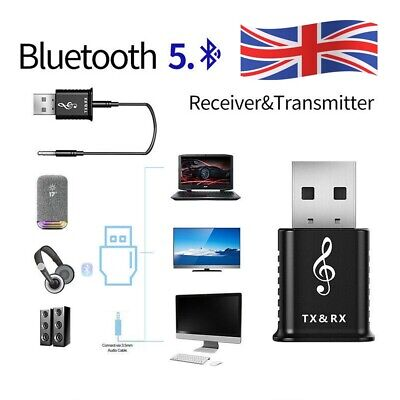 2-in-1 USB Bluetooth 5.0 Transmitter Receiver AUX Audio Adapter For TV/PC/Car • 4.73£