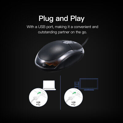 Wired Usb Optical Mouse For Pc Laptop Computer Scroll Wheel - Black Uk • 4.39£