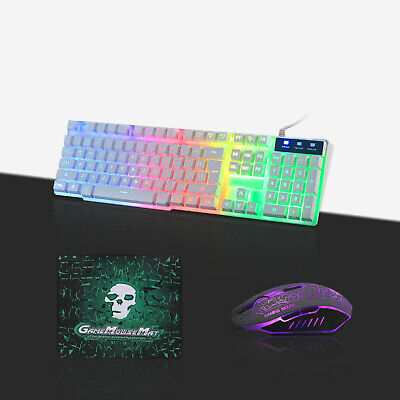 Gaming Keyboard Mouse Set Rainbow Backlit LED Mechanical T6 For PC Laptop PS4 • 12.99£