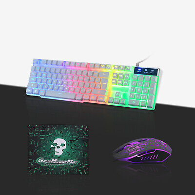 Gaming Keyboard Mouse Set Rainbow Backlit LED Mechanical T6 For PC Laptop PS4 • 14.99£