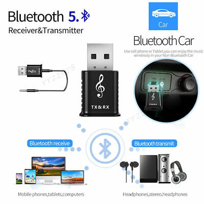 2 In 1 USB Bluetooth 5.0 Transmitter Receiver AUX Audio Adapter For TV/PC/Car • 4.85£