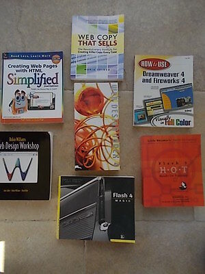 Collection Joblot 7 Books WEB Design Computing Dreamweaver Fireworks Flash 4 & 5 • 24.99£