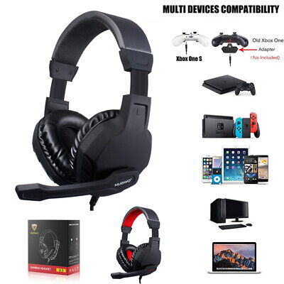 3.5mm Gaming Headset With Mic Volume Control LED Headphones For PC PS4 Xbox One • 19.99£