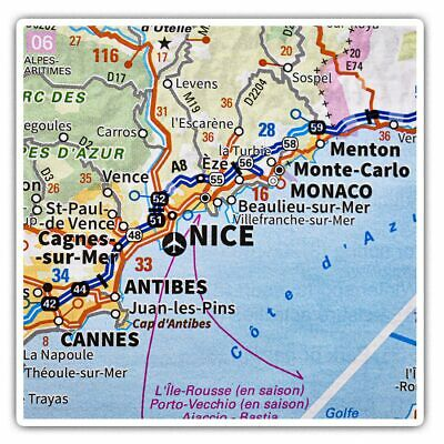 2 X Square Stickers 10 Cm - Nice City France French Travel Map  #45872 • 2.49£