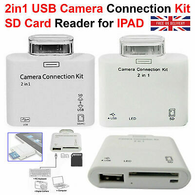 2 In 1 USB Camera Connection Kit Adapter SD Card Reader For IPad IPad 2 Touch UK • 3.49£