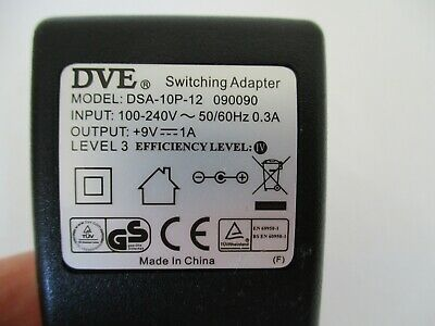 Genuine DVE SWITCHING ADAPTER DSA-10P-12 9V 1A POWER SUPPLY • 3.99£