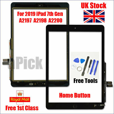 For IPad 2019 IPad 7 10.2  A2197 A2198 A2200 Black Digitizer Screen Replacement • 22.93£