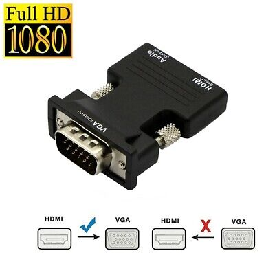 HDMI INPUT To VGA OUTPUT Converter Adapter Sound Audio For PC DVD TV Monitor UK • 5.95£