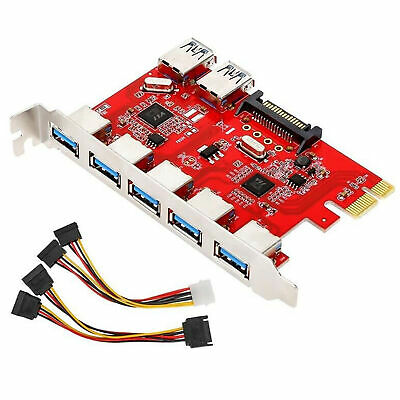 Inateck Internal Superspeed 7 Ports PCI-E To USB 3.0 Expansion Card PCI Express • 12.68£