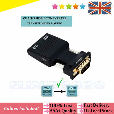 VGA INPUT To HDMI OUTPUT Adapter Video Audio Converter Cable 1080P For TV PC DVD • 5.49£