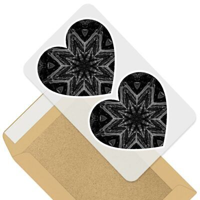 2 X Heart Stickers 7.5 Cm - BW - Cool Abstract Kaleidoscope  #38832 • 2.49£