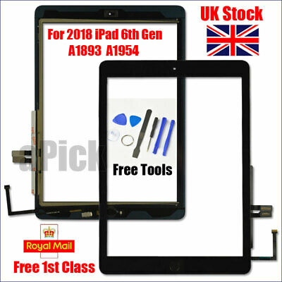 For 2018 IPad 6th Gen A1893 A1954 Touch Screen Digitizer Replacement + IC Black • 15.93£