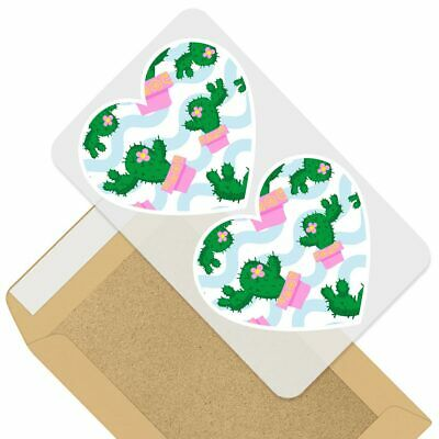 2 X Heart Stickers 10 Cm - Funky Cactus Plants Pattern Pink  #45086 • 1.99£