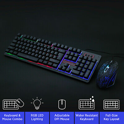 RGB PC Gaming Keyboard And Mouse Set LED Backlit Wired USB XBOX PS4 Compatible • 13.99£