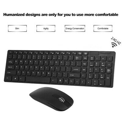 2.4G Slim Wireless Keyboard And Mouse Kit Set For Laptop PC Mac Plug & Play • 9.59£