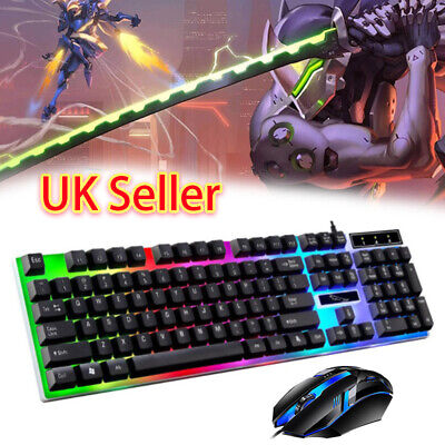 Gaming Keyboard Mouse Set Rainbow LED Wired USB For PC Laptop PS4 Xbox One 360 B • 9.79£