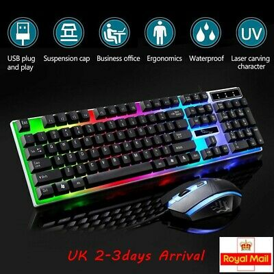 LED Gaming Keyboard And Mouse Set Wired USB Ergonomic For PC Laptop PS4 Xbox One • 12.99£
