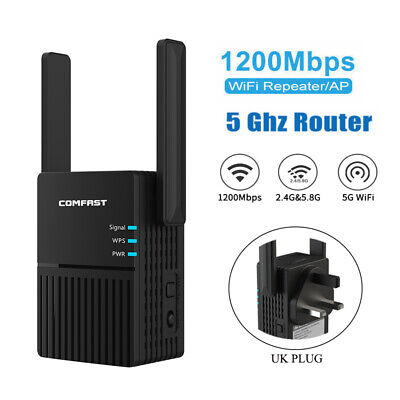 1200Mbps WiFi Signal Extender Range Booster Dual-Band Network Amplifier Repeater • 23.38£