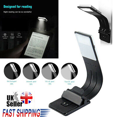 LED Reading Book Light With Detachable Flexible Clip USB Rechargeable Lamps UK • 10.14£