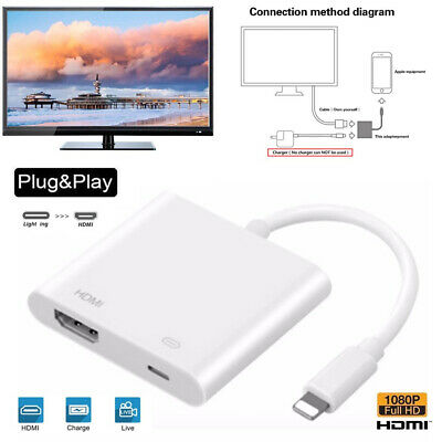 IOS To HDMI Adapter Cable Digital AV TV Adapter For Apple IPhone 6 7 8 X 11 Ipad • 6.39£