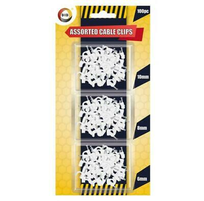 100 Pack White Cable Clips 3 Assorted Sizes Wall Tacks Wire Cord Detangle Clamp  • 2.49£