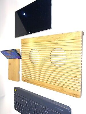 Laptop Cooling Pad, Bamboo Wood, Carved With Window And Phone Stand. • 19.99£