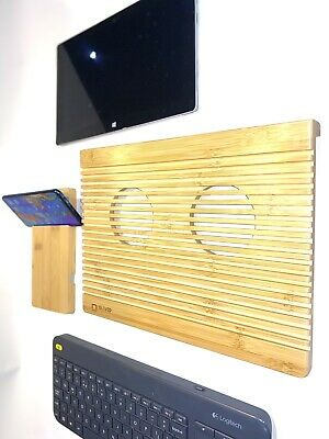 Laptop Cooling Pad, Bamboo Wood, Carved With Window And Phone Stand. • 16.99£
