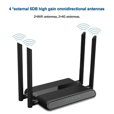 4G LTE CPE Unlocked With Cable SIM Card Solt Living Room Wireless Router WiFi • 48.39£