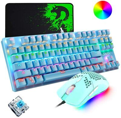 Mechanical Gaming Keyboard Lightweight Honeycomb Mouse Combo Wired RGB Backlit • 39.89£
