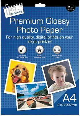 20 Sheets Premium Glossy High Gloss Photo Paper A4 Inkjet Printer230GSM Picture • 2.99£