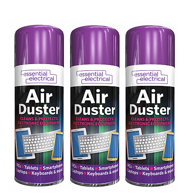 3x AIR DUSTER SPRAY W/Extension Tube Gas Cleaner Compressed Dust Blower Clean • 6.49£