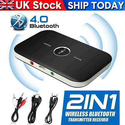 Wireless Receiver HiFi Music Adapter AUX RCA 2 In 1Audio Transmitter Bluetooth • 4.45£