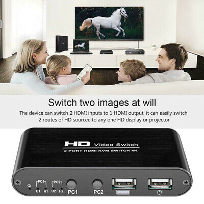 Port High Speed KVM 4K HDMI Switcher For Sharing Monitor Keyboard Mouse Home • 29.11£