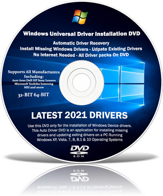 Drivers Pack Disc For Any Windows Computer Windows 10 8 7 Vista XP 32/64 Bit • 3.95£