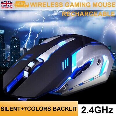 New LED Wireless Mouse Cordless Optical Mice For PC Laptop Computer 2.4GHz Games • 10.99£