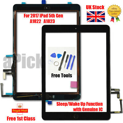 For 2017 IPad 5th Gen A1822 A1823 Touch Screen Digitizer Replacement + IC Black • 17.93£