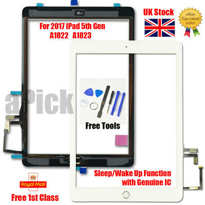 For 2017 IPad 5th Gen A1822 A1823 Touch Screen Digitizer Replacement + IC White • 17.93£