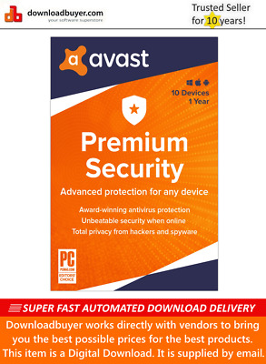 Avast Premium Security 2020 - 10 Devices - 1 Year [Download] • 9.99£