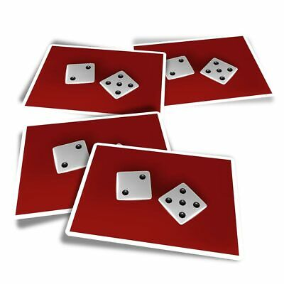 4x Rectangle Stickers - Casino Dice Lucky Number 7  #15972 • 3.49£