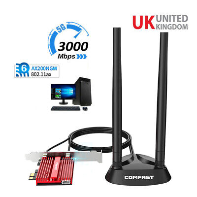3000Mbps WiFi6 AX200 Wireless Network Card Antenna PCIE Signal Dual Frequency UK • 32.90£