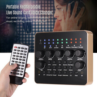 Portable Rechargeable Live Sound Card Voice Changer Effects BT Connection Y5K3 • 32.38£
